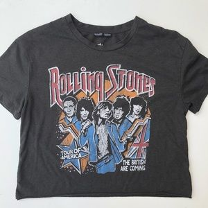 Zara   Rolling Stones Band Cropped T Shirt